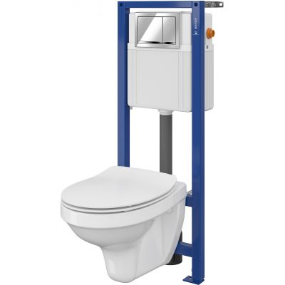 Cersanit Delfi Set 897 miska WC z deską wolnoopadającą Slim i stelaż podtynkowy Aqua z przyciskiem spłukującym Enter chrom błyszczący S701-218