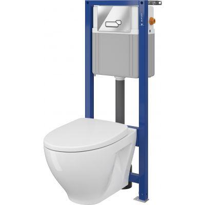 Cersanit Moduo Set B41 miska WC CleanOn z deską wolnoopadającą Slim i stelaż podtynkowy Aqua z przyciskiem spłukującym Actis chrom błyszczący S701-311