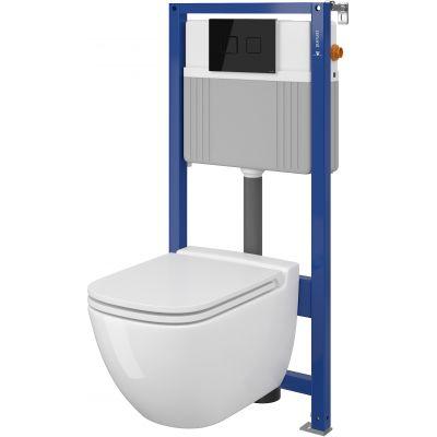 Cersanit Caspia Set B28 miska WC CleanOn z deską wolnoopadającą Slim i stelaż podtynkowy Aqua z przyciskiem spłukującym Accento Square szkło czarne S701-320