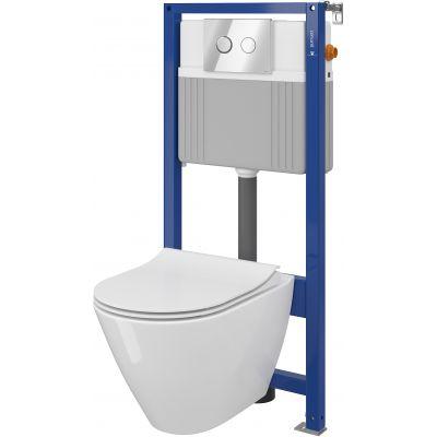 Cersanit City Set B32 Oval miska WC CleanOn z deską wolnoopadającą Slim i stelaż podtynkowy Aqua z przyciskiem spłukującym Accento Circle chrom błyszczący S701-324