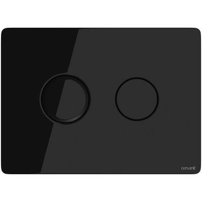 Cersanit Accento Circle przycisk spłukujący do WC pneumatyczny szkło czarne S97-053