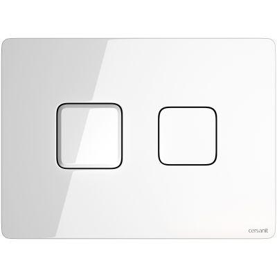 Cersanit Accento Square przycisk spłukujący do WC pneumatyczny szkło białe S97-054