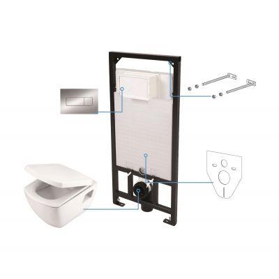 Zestaw Deante Anemon 6w1 stelaż podtynkowy z miską WC wiszącą, deską wolnoopadającą i przyciskiem spłukującym chrom CDZS6WPW