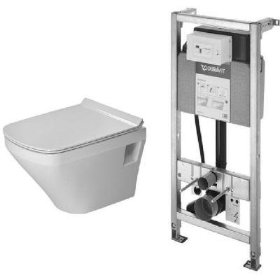 Zestaw Duravit Durastyle Compact miska WC wisząca RImless z deską wolnoopadającą biała i stelaż podtynkowy DuraSystem (45710900A1, WD1001000000)