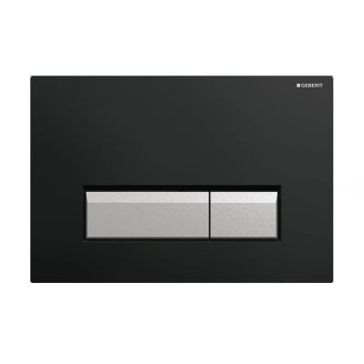 Geberit Sigma40 zestaw wykończeniowy z przyciskiem czarny/szczotkowane aluminium do elementu montażowego WC z odciągiem 115.600.KR.1