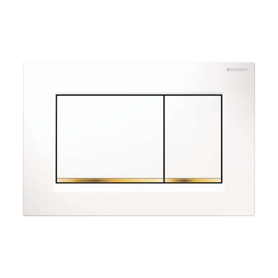 Geberit Sigma30 przycisk spłukujący biały/złocony/biały 115.883.KK.1