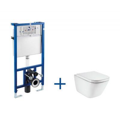 Zestaw Roca Gap miska WC Rimless Maxi Clean ze stelażem podtynkowym Duplo A8900900MR (A890090020, A34647L00M)