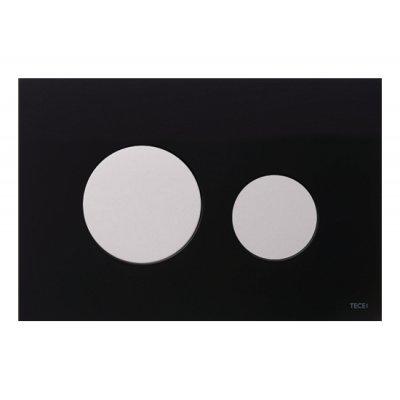 Tece Loop przycisk spłukujący do WC szkło czarne/biel 9.240.654