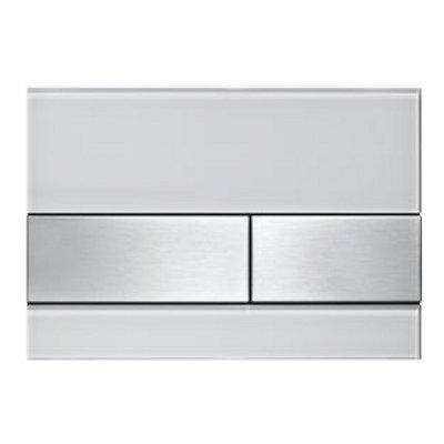Tece Square przycisk spłukujący do WC szkło białe / stal 9.240.801