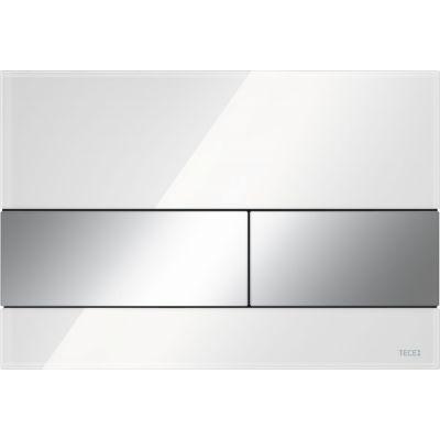 Tece Square przycisk spłukujący do WC szkło białe / chrom połysk 9.240.802