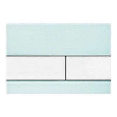Tece Square przycisk spłukujący do WC szkło zielone / biel 9.240.803