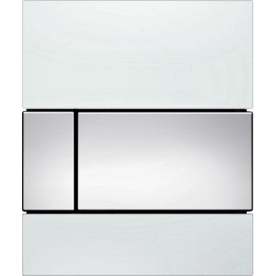 Tece Square przycisk spłukujący do pisuaru szkło białe / chrom połysk 9.242.802