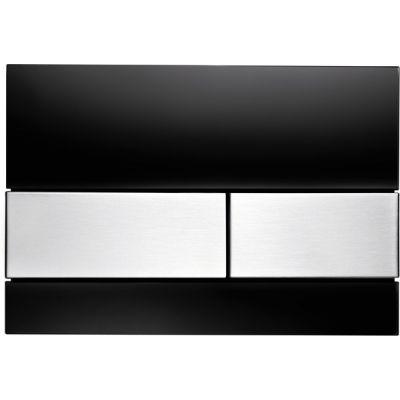 Tece Square przycisk spłukujący do WC szkło czarne / stal 9.240.806
