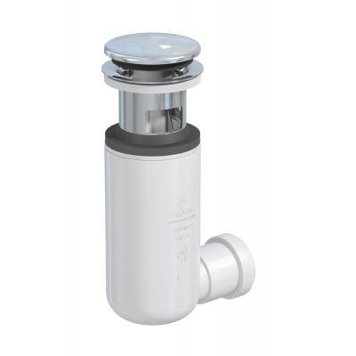 Deante Click-Clack korek okrągły z przelewem z syfonem do umywalki chrom/biały  NHC010C