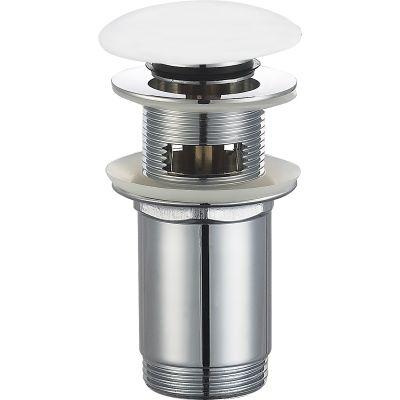 Oltens Halsa korek do umywalki klik klak okrągły z przelewem G 1 1/4 biały 05102000