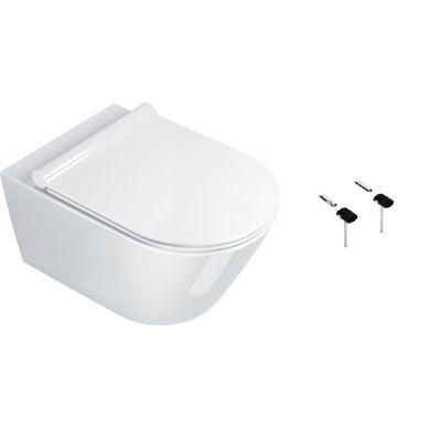 Zestaw Catalano Zero miska WC wisząca Newflush z deską wolnoopadającą białą i zestawem montażowym (1VS55NR00, 5SCSTP000, 5KFST00)