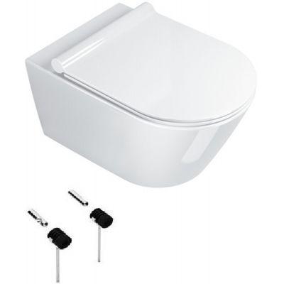 Zestaw Catalano New Zero miska WC wisząca Newflush z deską wolnoopadającą białą i zestawem montażowym (1VSZ50R00, 5SCSTP000, 5KFST00)