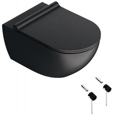Zestaw Catalano Zero miska WC wisząca Newflush z deską wolnoopadającą czarny mat i zestawem montażowym (1VS55NRNS, 5SCSTPNS, 5KFST00)