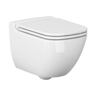 Zestaw Cersanit Caspia New miska WC bez kołnierza z deską wolnoopadającą (K110233, K980145)