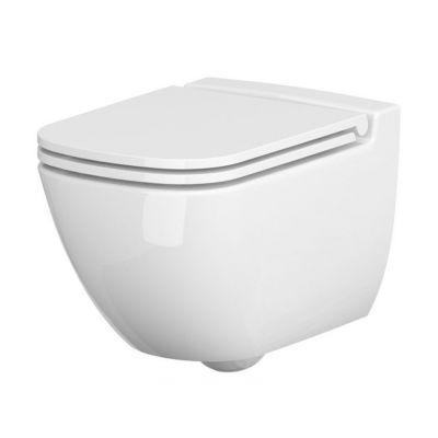 Cersanit Caspia zestaw miska WC wisząca CleanOn z deską wolnoopadającą Slim biała K701-103