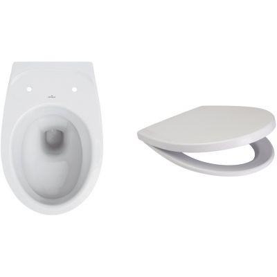 Zestaw Cersanit Delfi miska WC wisząca z deską wolnoopadającą biały (K11-0021, K98-0073)