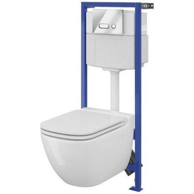 Zestaw Cersanit Caspia miska WC CleanOn z deską wolnoopadającą i stelaż podtynkowy Hi-Tec z przyciskiem Intera chrom S701-200