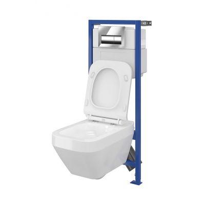 Cersanit Hi-Tec Crea zestaw stelaż podtynkowy z miską WC wiszącą CleanOn i deską wolnoopadającą S701-223