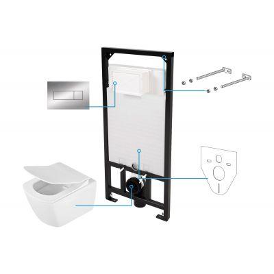 Zestaw Deante Anemon Zero 6w1 stelaż podtynkowy z miską WC wiszącą, deską wolnoopadającą Slim i przyciskiem spłukującym chrom CDZS6ZPW