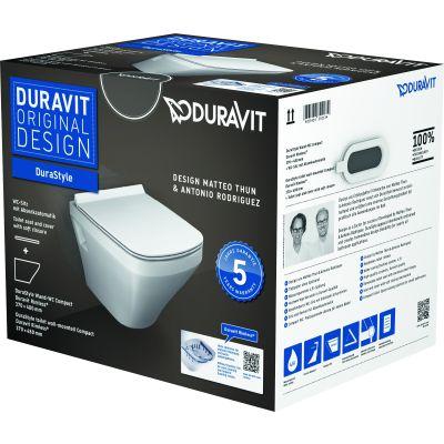 Duravit Durastyle Compact miska WC wisząca Rimless z deską wolnoopadającą białą 45710900A1