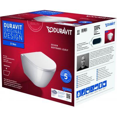 Duravit D-Neo miska WC wisząca Rimless z deską sedesową wolnoopadającą biała 45770900A1