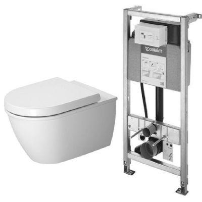 Zestaw Duravit Darling New miska WC wisząca z deską wolnoopadającą biała i stelaż podtynkowy DuraSystem (2545090000, 0069890000, WD1001000000)
