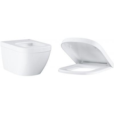 Zestaw Grohe Euro Ceramic miska WC wisząca bez kołnierza PureGuard z deską wolnoopadającą biała (3932800H, 39330001)