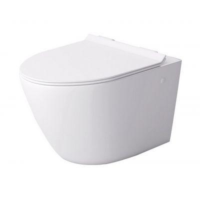 Massi Decos Mini Rimless miska WC wisząca z deską wolnoopadającą duroplast biała MSM-0003SLIM