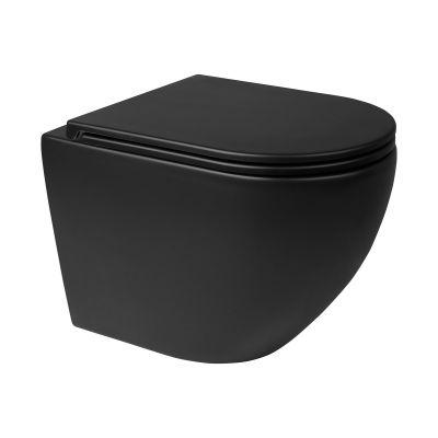 Zestaw Oltens Hamnes miska WC wisząca PureRim z powłoką SmartClean z deską wolnoopadającą czarny mat 42514300