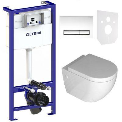 Zestaw Rea Carlo Mini Rimless miska WC z deską i stelaż podtynkowy Oltens Triberg Torne 5w1 z przyciskiem spłukującym (58300100, REAC1000)