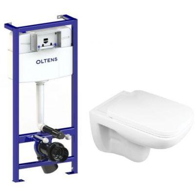 Zestaw Oltens Ribe miska WC z deską i stelaż podtynkowy Oltens Triberg (50001000, 42010000)