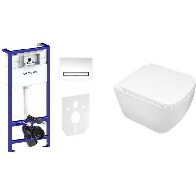 Zestaw Oltens Vernal miska WC z deską wolnoopadającą i stelaż podtynkowy Triberg Torne 5w1 z przyciskiem spłukującym (58300100, 42502000, 45104000)