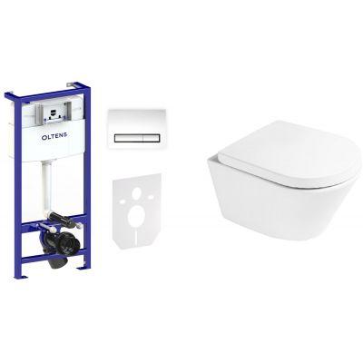 Zestaw Oltens Jog miska WC z deską wolnoopadającą i stelaż podtynkowy Triberg Torne 5w1 z przyciskiem spłukującym (58300100, 42501000, 45101000)