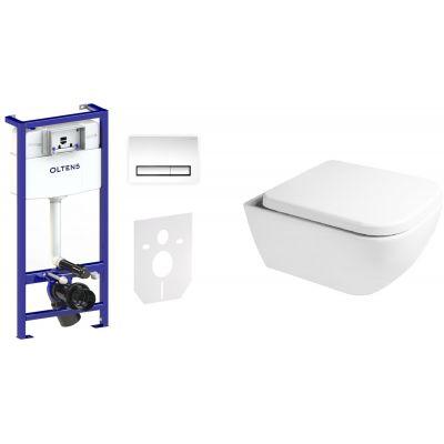 Zestaw Oltens Vernal miska WC z deską wolnoopadającą i stelaż podtynkowy Triberg Torne 5w1 z przyciskiem spłukującym (58300100, 42502000, 45103000)
