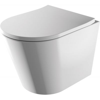 Omnires Tampa miska WC wisząca bez kołnierza z deską sedesową wolnoopadającą biała TAMPAMWBP