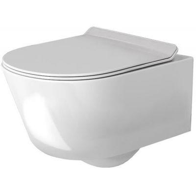 Rea Tores Rimless miska WC wisząca bez kołnierza z deską wolnoopadającą śnieżnobiały połysk REA-C1001