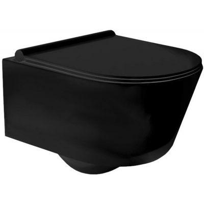 Rea Porter Rimless miska WC wisząca bez kołnierza z deską wolnoopadającą Duroplast/Slim/ZM czarny REA-C2361