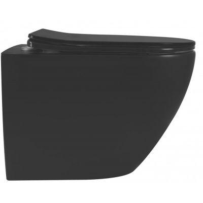 Rea Carlo Mini miska WC Rimless z deską wolnoopadającą czarny mat REA-C8489