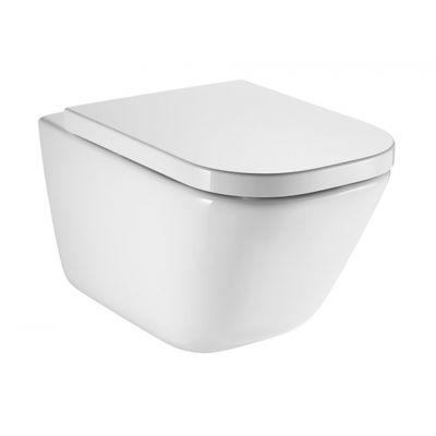 Roca Gap zestaw miska WC wisząca Rimless z deską wolnoopadającą biała A34H47C000
