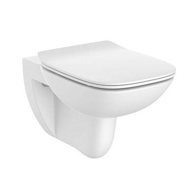 Roca Debba Square Rimless miska WC wisząca bez kołnierza z deską wolnoopadającą Slim biała A34H993000