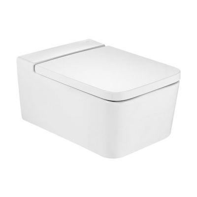 Zestaw Roca Inspira Square miska WC wisząca Rimless z deską wolnoopadającą biała (A346537000, A80153200B)