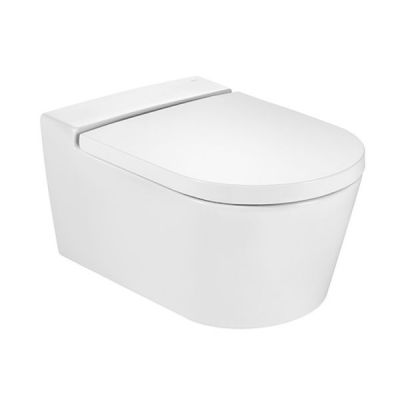 Zestaw Roca Inspira Round miska WC wisząca Rimless z deską wolnoopadającą biała (A346527000, A80152200B)