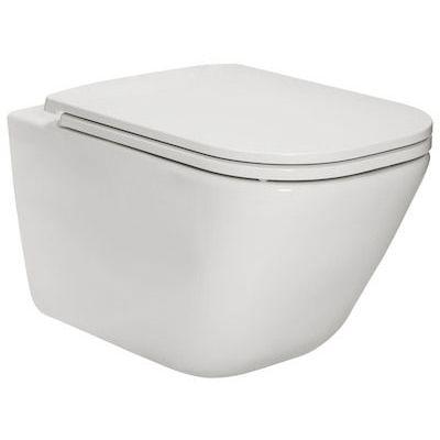 Zestaw Roca Gap Square miska WC wisząca RImless Maxi Clean z deską wolnoopadającą Slim biały (A34647L00M, A801482211)