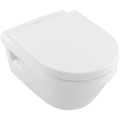 Villeroy & Boch Architectura combi-Pack zestaw miska WC wisząca bez kołnierza z deską wolnoopadającą Weiss Alpin  5684HR01