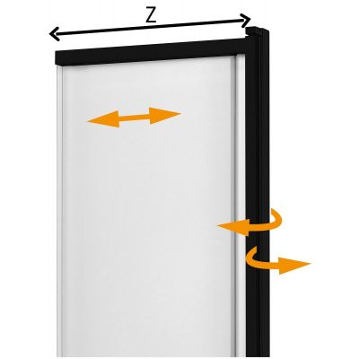 New Trendy Sensi Black parawan nawannowy 85x150 cm szkło przezroczyste P-0045